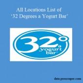 32 Degrees a Yogurt Bar Locations